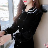 Dress Spring 2021 black S,M,L,XL Mid length dress singleton  Long sleeves commute Doll Collar middle-waisted Solid color zipper A-line skirt routine Type A Korean version Fungus, splicing 81% (inclusive) - 90% (inclusive)