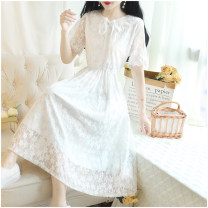 Dress Summer 2020 white S,M,L,XL,2XL,3XL,4XL,5XL longuette singleton  Short sleeve Sweet Lotus leaf collar High waist Solid color zipper Big swing pagoda sleeve Others 18-24 years old Type A Other / other 71% (inclusive) - 80% (inclusive) Lace princess