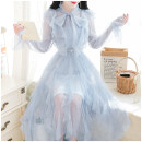 Dress Spring 2020 Blue, apricot, pink S,M,L Mid length dress Two piece set Long sleeves Sweet Crew neck Elastic waist Solid color A button Irregular skirt pagoda sleeve Others 18-24 years old Type A Bows, ruffles, lace, lace, sequins, gauze 31% (inclusive) - 50% (inclusive) other Mori