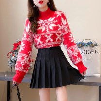 Fashion suit Winter 2020 S,M,L,XL Snowflake Sweater + pleated black skirt, Snowflake Sweater + hanging bead black skirt, single Snowflake Sweater, single pleated black skirt, single hanging bead black skirt 81% (inclusive) - 90% (inclusive)