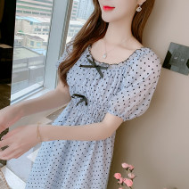 Dress Summer 2021 Apricot, blue S,M,L,XL longuette singleton  Short sleeve Sweet One word collar Elastic waist other Socket A-line skirt puff sleeve 18-24 years old Type A 81% (inclusive) - 90% (inclusive) other other