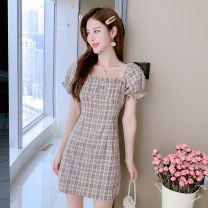 Dress Summer 2021 Picture color S,M,L,XL Short skirt singleton  Short sleeve Sweet other High waist lattice Socket A-line skirt Petal sleeve Others 18-24 years old Type H 642# 31% (inclusive) - 50% (inclusive) other polyester fiber