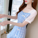 Dress Spring 2021 Blue check S,M,L,XL Short skirt singleton  Short sleeve Sweet square neck middle-waisted lattice Socket other puff sleeve Others 18-24 years old Type H Splicing 31% (inclusive) - 50% (inclusive) other other