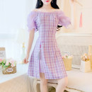 Dress Summer 2020 Blue, purple S,M,L Middle-skirt singleton  Short sleeve commute One word collar High waist lattice zipper A-line skirt puff sleeve Others 25-29 years old Type A Other / other lady 81% (inclusive) - 90% (inclusive) brocade
