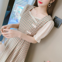 Dress Summer 2021 Green lattice, pink purple lattice S,M,L,XL Miniskirt singleton  Short sleeve commute square neck middle-waisted lattice Socket A-line skirt routine Others 18-24 years old Type A Retro 31% (inclusive) - 50% (inclusive) other