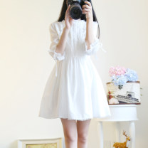Dress Summer 2021 white S,M,L,XL Middle-skirt singleton  elbow sleeve Sweet Lotus leaf collar Elastic waist Solid color zipper Princess Dress other Others 18-24 years old Type A Bow, ruffle, fungus, lace, lace 31% (inclusive) - 50% (inclusive) brocade cotton solar system