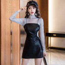 Dress Autumn 2020 black S,M,L,XL,2XL Short skirt Two piece set Long sleeves commute High collar High waist Solid color double-breasted A-line skirt routine Type A Korean version Hollowed out, pleated, button, mesh