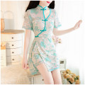 Dress Spring 2021 green S,M,L,XL,2XL Two piece set Short sleeve commute Retro cotton