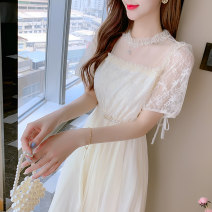 Dress Summer 2021 Apricot, blue S,M,L,XL,2XL longuette singleton  Short sleeve commute High collar Elastic waist Socket other 25-29 years old Lace