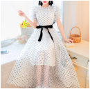 Dress Summer 2021 white S,M,L longuette Two piece set Long sleeves commute Crew neck High waist lattice Single breasted A-line skirt routine camisole Type A Other / other Splicing polyester fiber