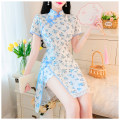 Dress Summer 2021 White, blue, pink S,M,L longuette Two piece set Long sleeves commute Crew neck High waist lattice Single breasted A-line skirt routine camisole Type A Splicing Lace polyester fiber