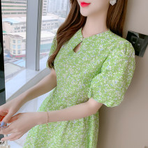 Dress Summer 2021 green S,M,L,XL Short skirt singleton  Short sleeve commute Crew neck Broken flowers Socket A-line skirt bishop sleeve 18-24 years old Type A Korean version 51% (inclusive) - 70% (inclusive) other other