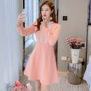 Dress Winter 2020 Pink S,M,L,XL Mid length dress singleton  Long sleeves commute Crew neck middle-waisted Solid color zipper A-line skirt other Type A Korean version Splicing 81% (inclusive) - 90% (inclusive) knitting