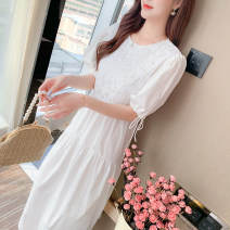 Dress Summer 2021 White, blue, yellow S,M,L,XL Mid length dress Fake two pieces Short sleeve commute Crew neck High waist Solid color zipper Big swing bishop sleeve 18-24 years old Type A Korean version Bows, folds, stitches, bandages 1848# 81% (inclusive) - 90% (inclusive) cotton