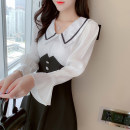 Dress Autumn 2020 Picture color S,M,L,XL Short skirt singleton  Long sleeves commute Doll Collar High waist Solid color Socket A-line skirt pagoda sleeve Others 18-24 years old Type A Lotus leaf edge 31% (inclusive) - 50% (inclusive) Chiffon polyester fiber