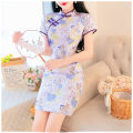 Dress Spring 2021 Picture color S,M,L Short skirt singleton  Short sleeve Sweet stand collar High waist zipper routine Type A Lace cotton