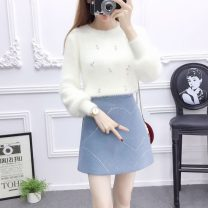 Fashion suit Winter of 2018 S,M,L,XL White sweater + blue skirt, white sweater + pink skirt, unit price white sweater, single blue skirt, single pink skirt Other / other