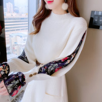 Dress Spring 2021 Apricot [belt], black [belt] S,M,L,XL Mid length dress singleton  Long sleeves commute Crew neck High waist Solid color Socket A-line skirt Lotus leaf sleeve Type A Korean version Ruffles, pockets, stitching, buttons, prints knitting