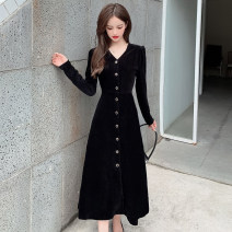 Dress Winter 2020 black S,M,L,XL,2XL longuette singleton  Long sleeves commute V-neck High waist Solid color Single breasted A-line skirt routine Others Type A Korean version Button