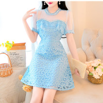 Dress Summer 2021 White, blue S,M,L longuette Two piece set Long sleeves commute Crew neck High waist lattice Single breasted A-line skirt routine camisole Type A Splicing polyester fiber