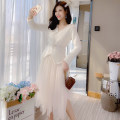 Dress Winter of 2019 White, pink S,M,L Mid length dress Two piece set Long sleeves V-neck Elastic waist Solid color Socket A-line skirt routine Asymmetry, nail bead, mesh 31% (inclusive) - 50% (inclusive)