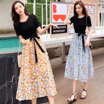 Dress Spring 2021 Blue, yellow M,L,XL,2XL Miniskirt singleton  Short sleeve commute Crew neck middle-waisted Decor Socket A-line skirt routine Others 30-34 years old Type A Korean version 8808# 31% (inclusive) - 50% (inclusive) knitting cotton