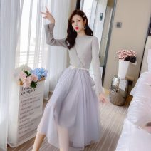 Dress Autumn 2020 Apricot, grey Average size Mid length dress singleton  Long sleeves commute Crew neck High waist Solid color Socket A-line skirt routine 18-24 years old Type A Korean version Splicing 31% (inclusive) - 50% (inclusive)