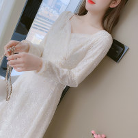 Dress Autumn 2020 Apricot S,M,L,XL Mid length dress singleton  Long sleeves commute square neck middle-waisted Solid color Socket Big swing routine Others 25-29 years old Type A Korean version other