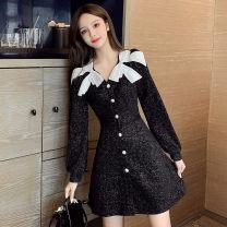Dress Winter 2020 Black, pink S,M,L,XL Short skirt singleton  Long sleeves commute V-neck High waist Single breasted A-line skirt bishop sleeve Others Type A Korean version