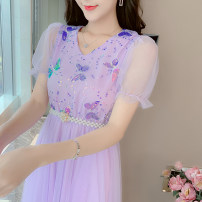 Dress Summer 2021 Pink, purple S,M,L,XL longuette singleton  Nine point sleeve Sweet V-neck High waist other routine Others Under 17 9931# 91% (inclusive) - 95% (inclusive) other cotton