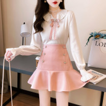 Fashion suit Winter 2020 S,M,L,XL Pink bow top + pink skirt, black bow top + black skirt, single pink bow top, single black bow top, single pink skirt, single black skirt