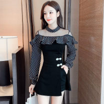 Dress Autumn 2020 black S,M,L,XL,2XL Short skirt Two piece set Long sleeves commute One word collar High waist Dot Socket Big swing bishop sleeve Type A Korean version Flounce, hollow out, button, mesh, zipper
