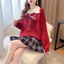 Fashion suit Winter 2020 S,M,L,XL Black coat + Red checked skirt, red coat + Black checked skirt, grey coat + Red checked skirt, single black coat, single red coat, single grey coat, single red checked skirt, single black checked skirt 81% (inclusive) - 90% (inclusive)