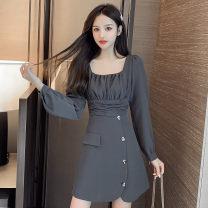 Dress Autumn 2020 Black, gray S,M,L,XL Short skirt singleton  Long sleeves commute square neck High waist Solid color Socket Irregular skirt bishop sleeve Type A Korean version