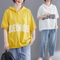 Women's large Summer 2020 Yellow black white T-shirt singleton  commute easy thin Socket Short sleeve Korean version Hood routine routine Ink 30-34 years old Cotton 60% polyester 35% polyurethane elastic fiber (spandex) 5% Exclusive payment of tmall