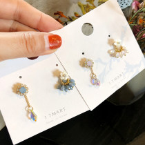 Ear Studs Alloy / silver / gold 51-100 yuan Other / other Pink Blue brand new Japan and South Korea female Fresh out of the oven Alloy inlaid artificial gem / semi gem other