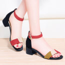 Sandals 33 34 35 36 37 38 39 40 41 PU Holy girl Barefoot Thick heel Middle heel (3-5cm) Summer of 2019 Flat buckle Korean version Solid color Adhesive shoes Youth (18-40 years old) TPU daily Bag heel Low Gang Lateral space PU PU Fashion sandals Shaving Pure e-commerce (online only)