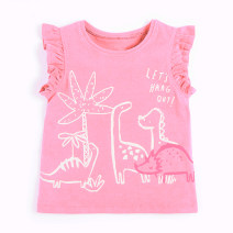 T-shirt Pink Other / other female summer Short sleeve Crew neck leisure time No model nothing cotton Cartoon animation Cotton 95% other 5% Sweat absorption 12 months, 9 months, 18 months, 2 years old, 3 years old, 4 years old, 5 years old, 6 years old, 7 years old, 8 years old