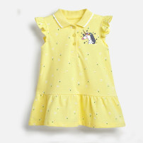 Dress yellow female Other / other 2T is suitable for height about 85, 3T is suitable for height about 90, 4T is suitable for height about 100, 5T is suitable for height about 110, 6T is suitable for height about 120, 7T is suitable for height about 130 Cotton 95% other 5% summer leisure time cotton