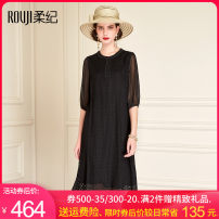 Dress Spring 2021 Black Collection Plus purchase, priority delivery M L XL XXL XXXL Mid length dress singleton  elbow sleeve commute Crew neck other routine Others 35-39 years old Rouji Simplicity Pleated embroidery pleated stitching three-dimensional decorative nail bead wave button zipper silk