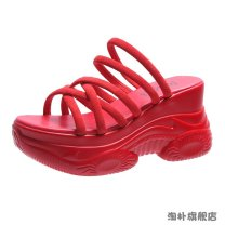 Sandals Suede Barefoot Slope heel High heel (5-8cm) Summer 2020 Flat buckle Korean version Solid color Adhesive shoes Youth (18-40 years old) polyurethane motion Back space waterproof Low Gang Hollow PU PU Fashion sandals Pure e-commerce (online only)