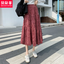 skirt Autumn 2020 S M L Apricot red Mid length dress commute Natural waist A-line skirt Decor 25-29 years old More than 95% Bedorf other Korean version Other 100% Pure e-commerce (online only)
