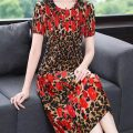Women's large Korean version Pleated skirt Summer 2021 commute singleton  Dress A005 Long sleeve Crew neck 40-49 years old Nefi Fox other 31% (inclusive) - 50% (inclusive) Other 100% Pure e-commerce (online sales only) XL 2XL 3XL 4XL Leopard red
