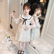 Dress Off white female Other / other 110cm,120cm,130cm,140cm,150cm,160cm,170cm Other 100% spring Korean version Long sleeves Solid color chemical fiber Fluffy skirt Xls513 & College lace embroidered dress Class B Three, four, five, six, seven, eight, nine, ten, eleven Chinese Mainland