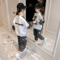 suit Other / other White, black female spring and autumn leisure time Long sleeve + pants 2 pieces routine There are models in the real shooting Socket nothing Cartoon animation other children Learning reward Class B 6 years old Chinese Mainland