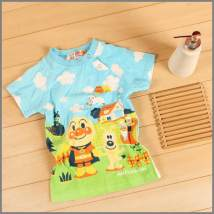 T-shirt wathet 0-3 90cm 95cm male summer Short sleeve Crew neck leisure time nothing cotton Cartoon animation Cotton 100% Sweat absorption