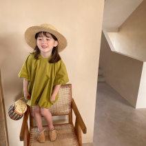 Dress Kiwi fruit female Other / other 90cm,100cm,110cm,120cm,130cm,140cm Cotton 100% summer Short sleeve Pure cotton (100% cotton content) Flower bud skirt Class B 2, 3, 4, 5, 6, 7, 8, 9, 10 years old