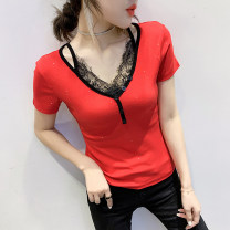 T-shirt Red black green S M L XL 2XL 3XL Summer 2020 Short sleeve V-neck Self cultivation Regular routine commute cotton 86% (inclusive) -95% (inclusive) Korean version originality Color matching Hohido Cotton 90% other 10% Pure e-commerce (online only)