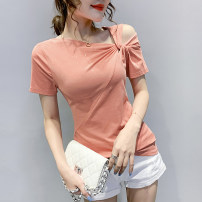 T-shirt Pink green black white S M L XL 2XL 3XL Summer 2020 Short sleeve Slant collar Self cultivation Regular routine commute cotton 86% (inclusive) -95% (inclusive) Korean version originality Solid color mosaic gradient Hohido HXD-E8118 Cotton 90% other 10%