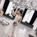 Dress / evening wear Wedding, adulthood, party, company annual meeting, performance, routine, appointment XS,S,M,L white Korean version Short skirt High waist Summer 2021 Skirt hem One shoulder Polyester fiber high grade woven fabric + Sequin 26-35 years old Short sleeve flower Solid color routine